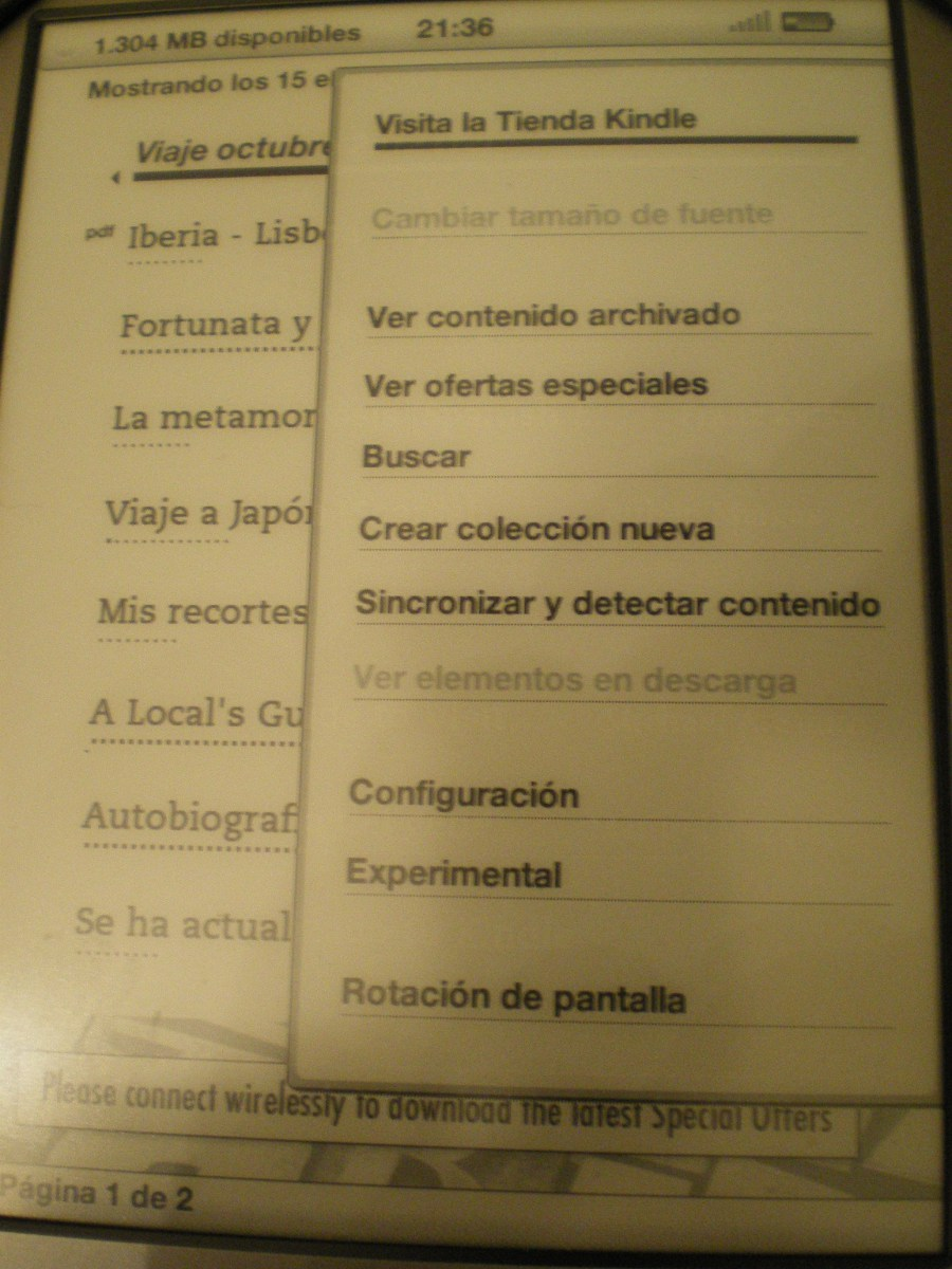 Menú Kindle