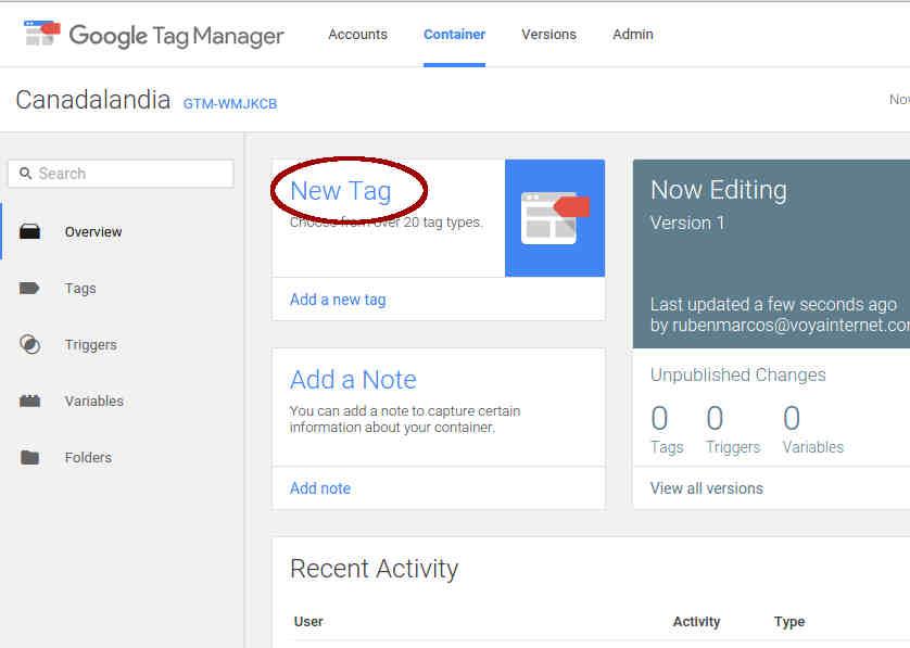 nueva etiqueta tag manager