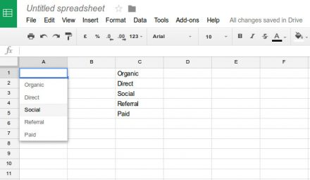 Menu desplegable google spreadsheets