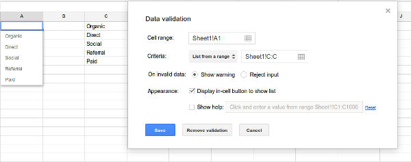 validation google spreadsheets