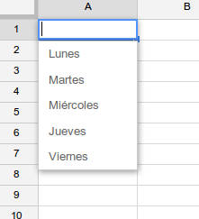 lista desplegable spreadsheets